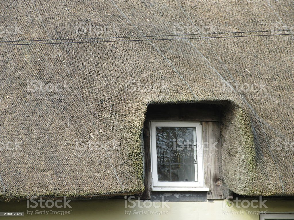 Window in thatched roof stock photo