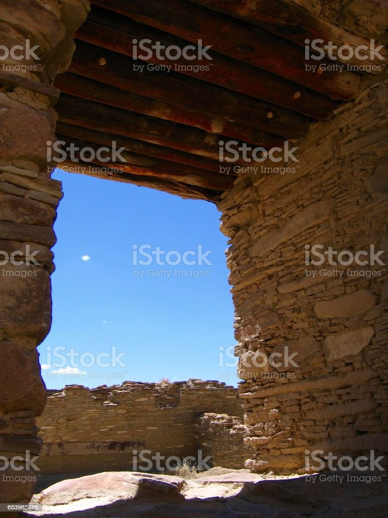 Window in the ancient ruins at Chaco Culture National Historical Park, New Mexico stock photo