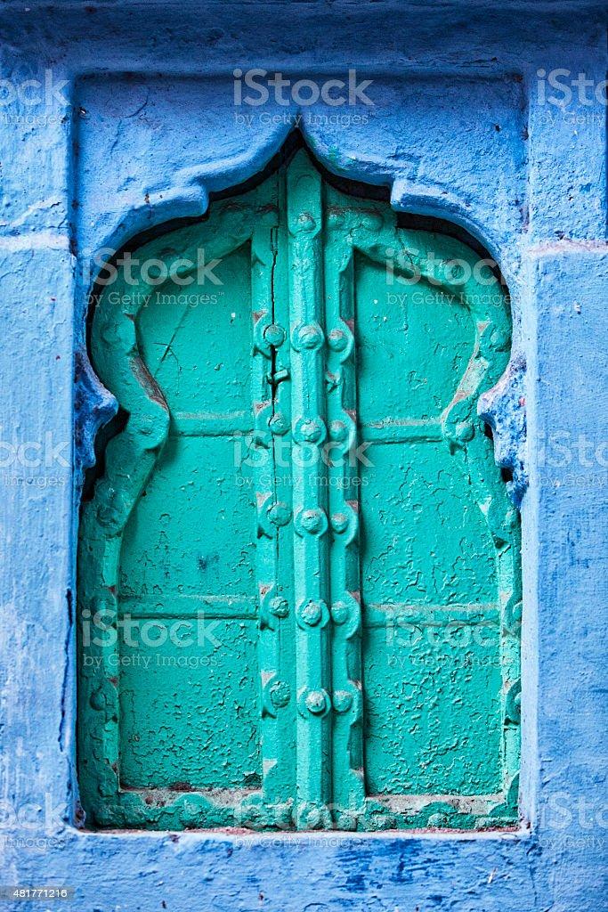 Window in the Blue City - Jodhpur, India stock photo