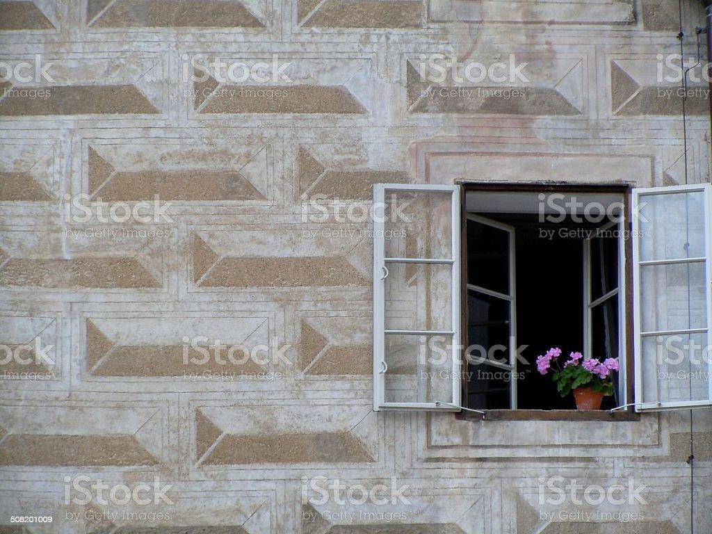 Window in trompe l'oeil stock photo