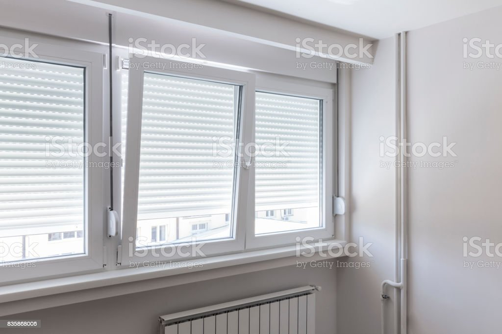 window in white room stock photo
