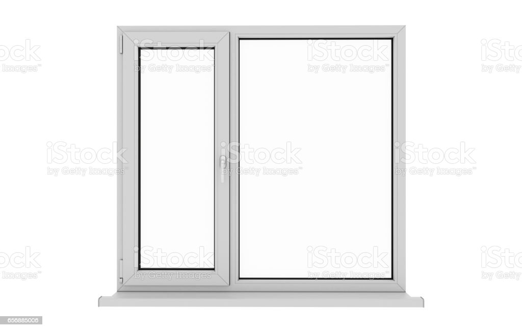 Window. Isolated window. Aluminum window. White window. Pvc window. stock photo
