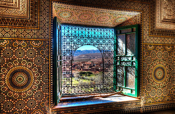 Window, Kasbah Telouet, Morocco stock photo