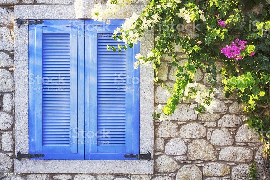 Window of an House, Alacati, Cesme, Izmir, Turkey foto