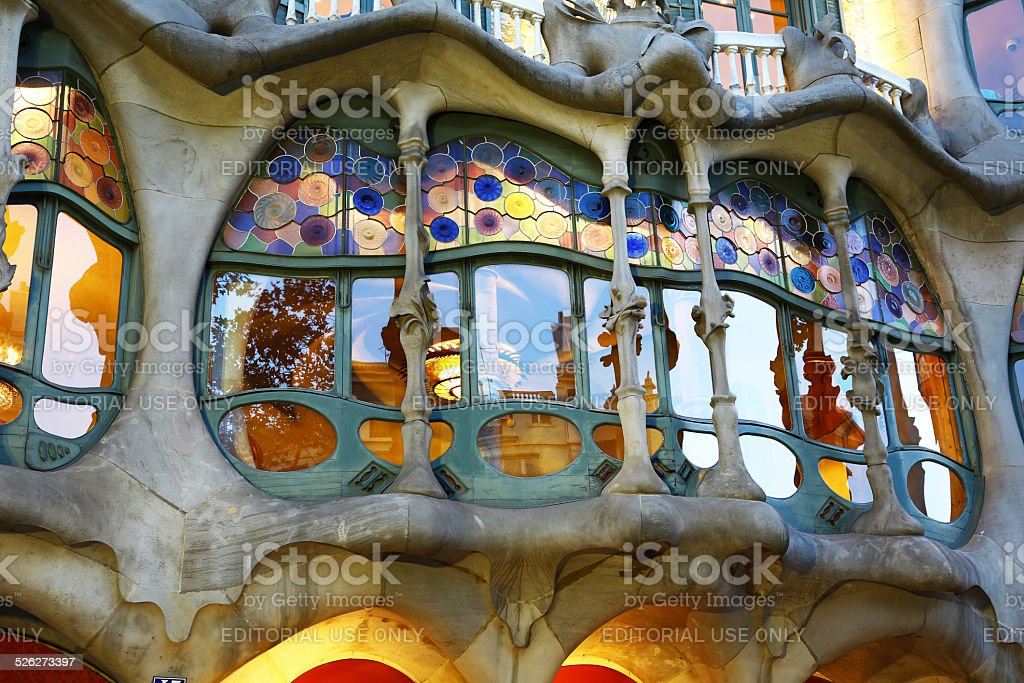 Window of Casa Batllò by Gaudì in Barcelona stock photo