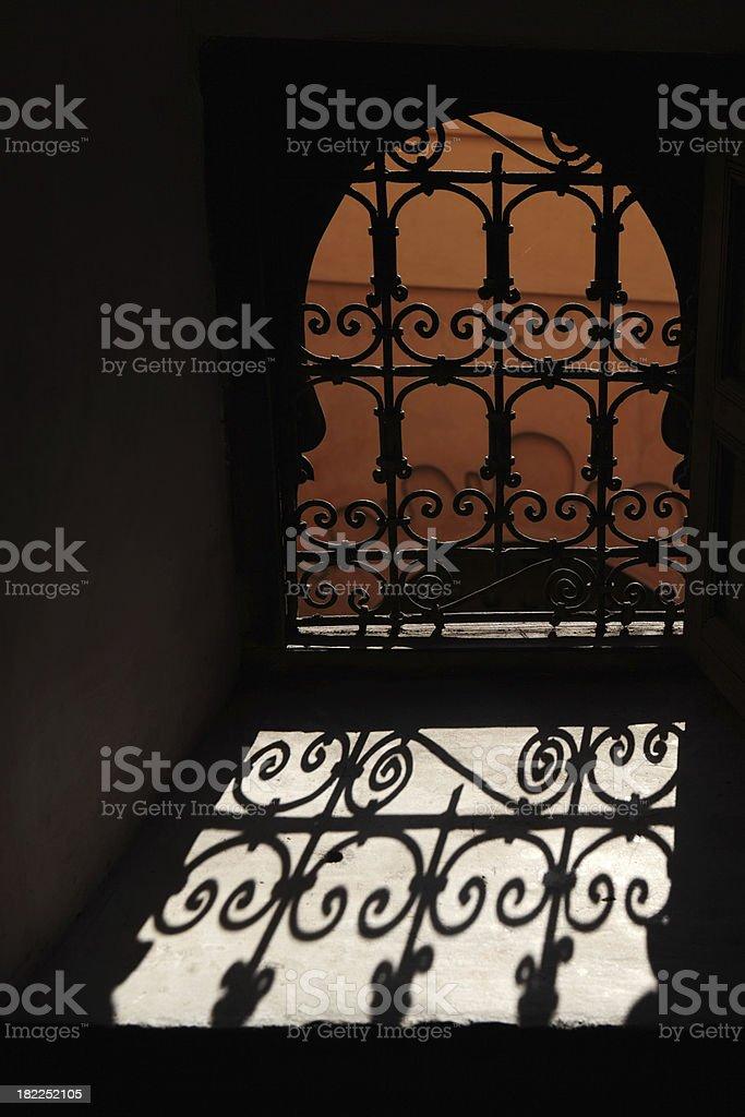 Window of Madrasa Ben Youssef, Marrakech, Morocco royalty-free stock photo