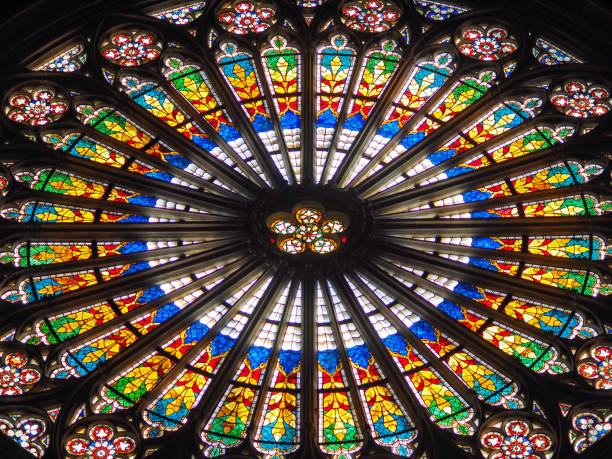 window of notre dame - rose window stock pictures, royalty-free photos & images