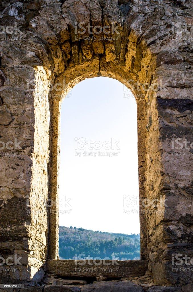 Window of ruined small church stock photo