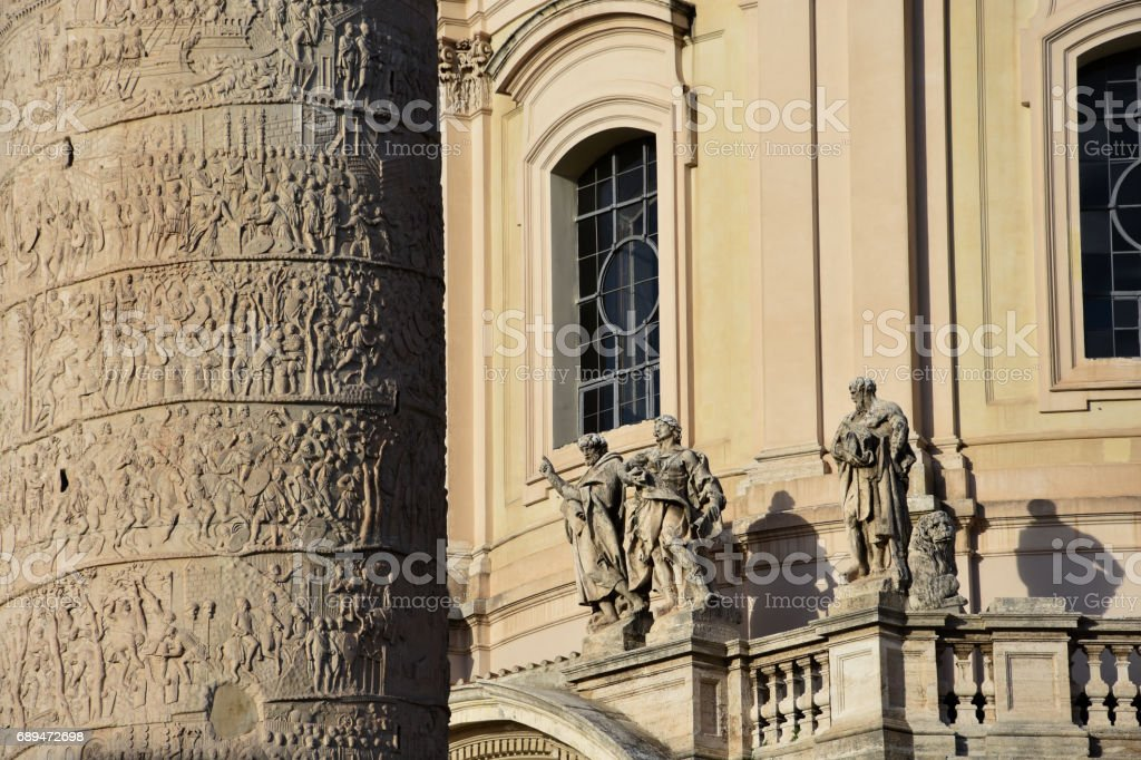 Window of The Church of the Most Holy Name of Mary at the Trajan Forum (Foro di Traiano) stock photo