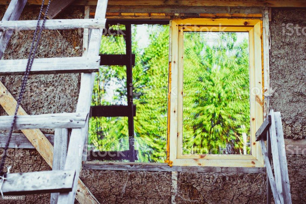 Window of unfinished house stock photo