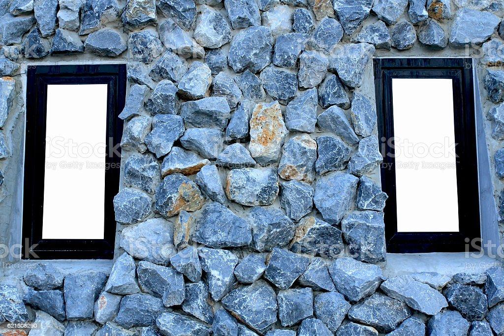 Fenster auf stone wall Lizenzfreies stock-foto