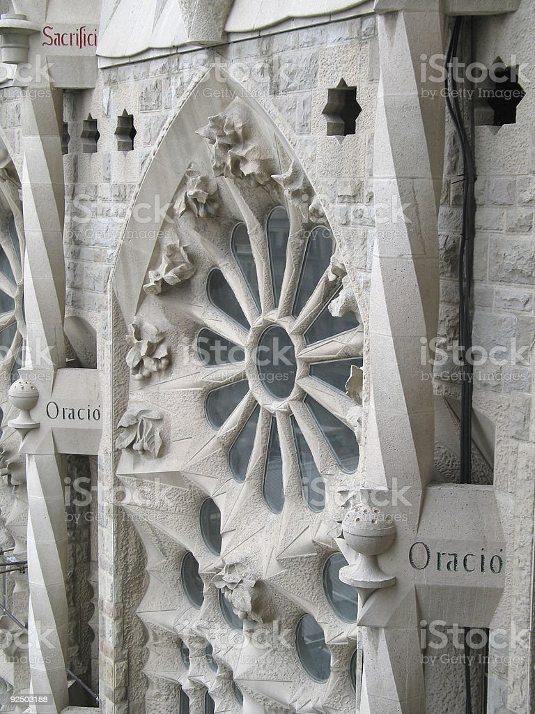 Window on La Sagrada Familia royalty-free stock photo