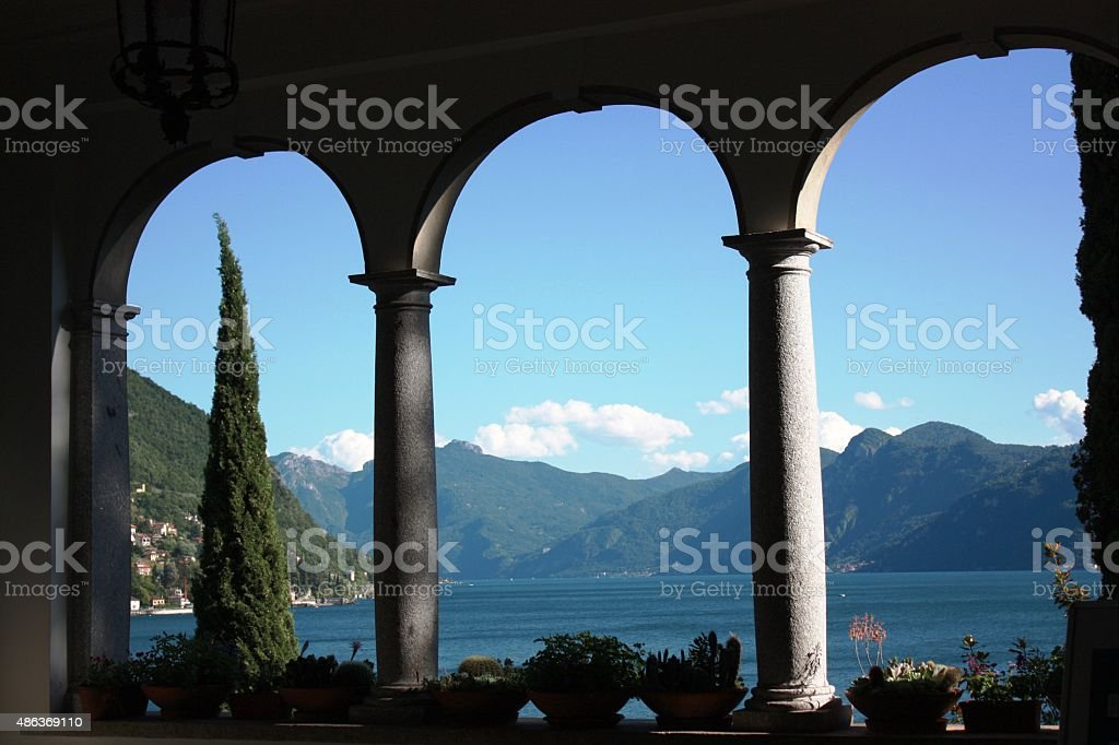 Window overlooking to Lake Como in Lombardy, Italy stock photo