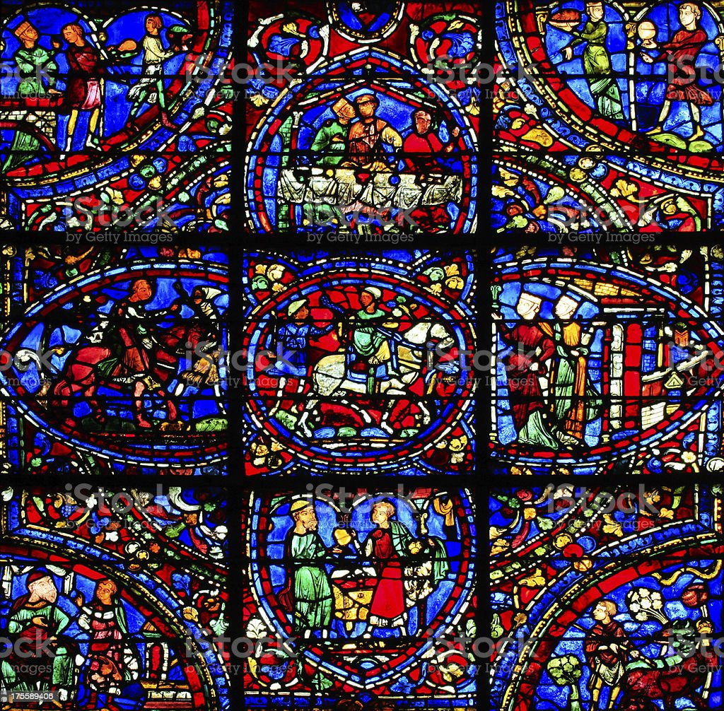 Window Parable of the Prodigal Son 1, Cathedral Notre-dame, Chartres stock photo