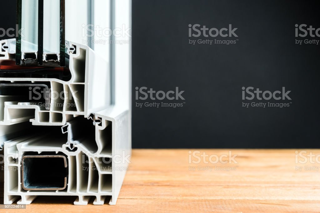 window profile cross section, triple glazing structure, energy efficient solution, copy space stock photo