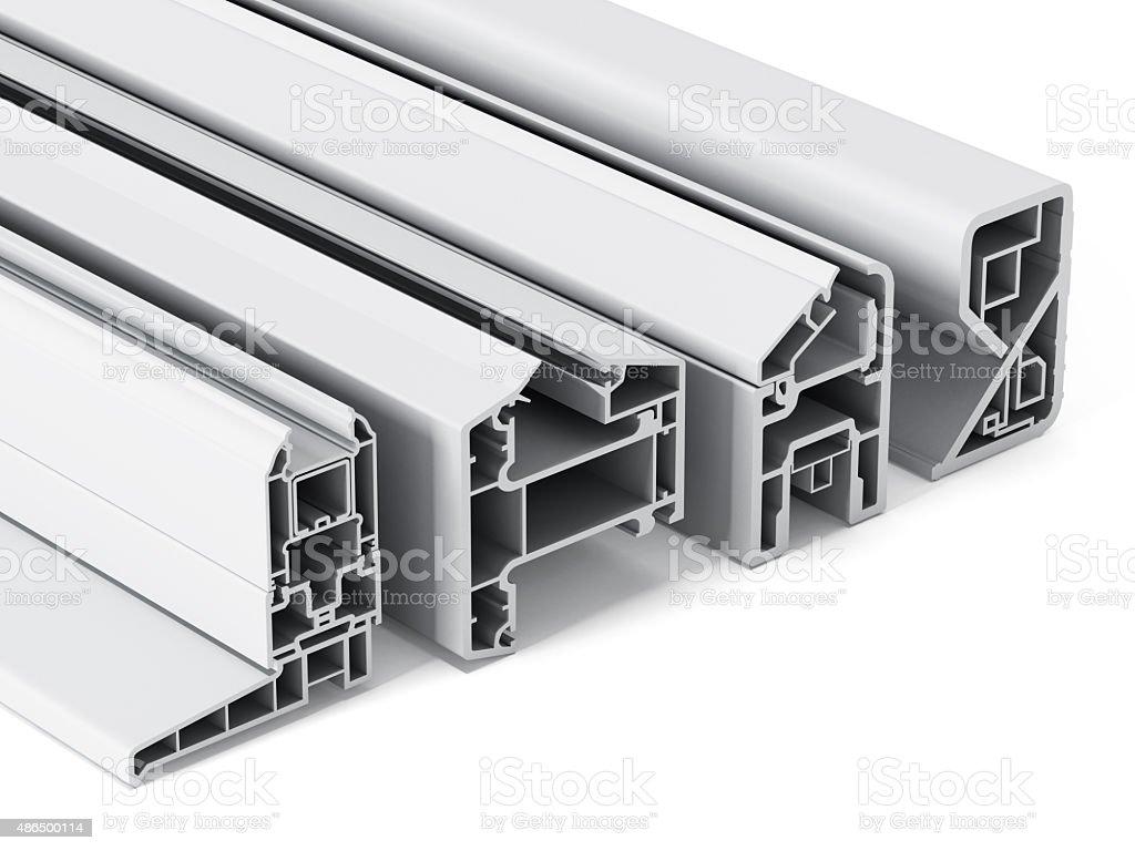 PVC window profile section stock photo