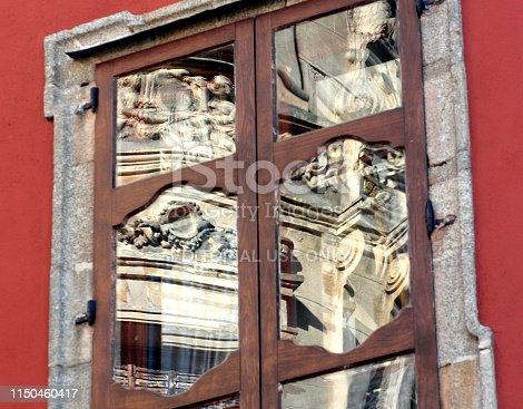 istock Window reflection of Art nouveau building
