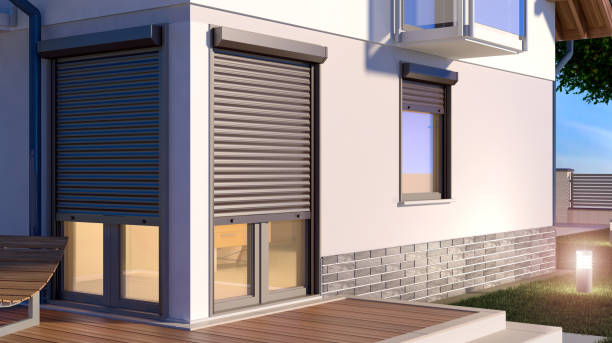 Window roller shutters stock photo