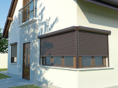 blinds and house, 3D illustration