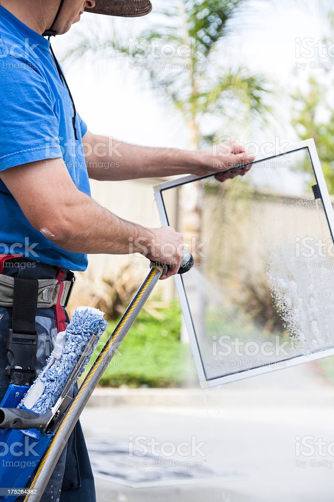 Window Screen Cleaning royalty-free stock photo
