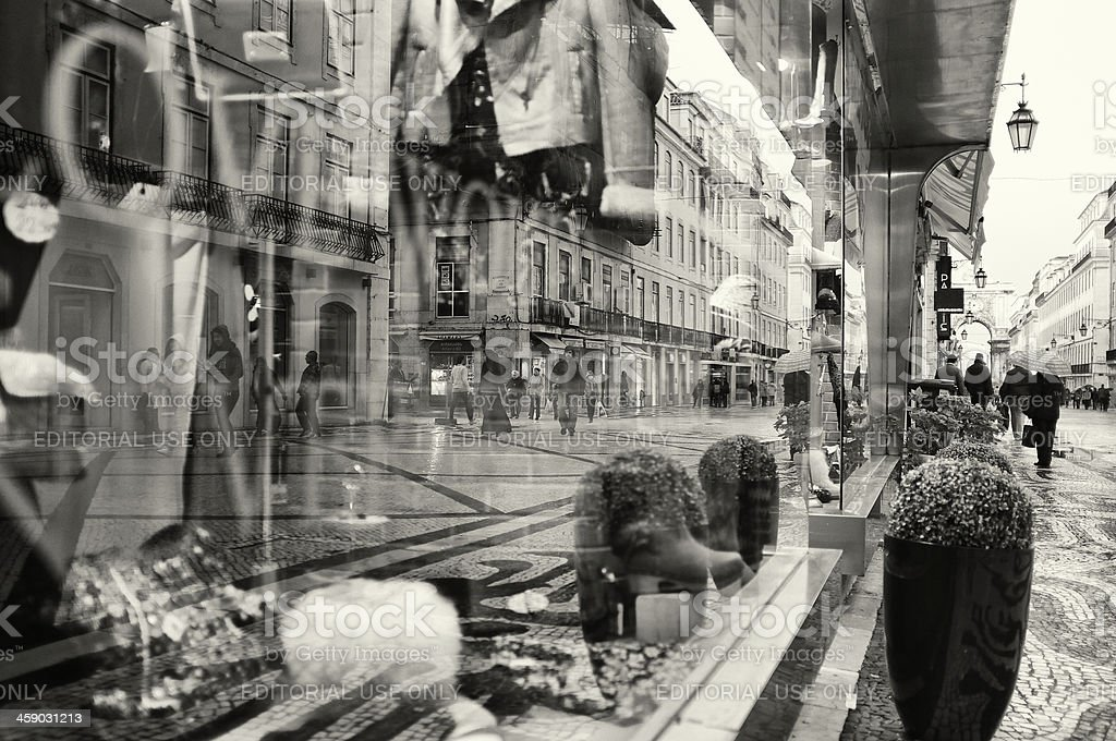 window Shop Reflections in Lisbon royalty-free stock photo