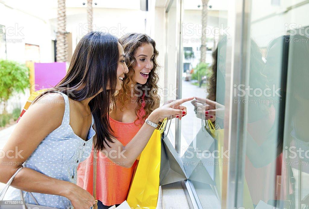 Window Shopping Friends royalty-free stock photo