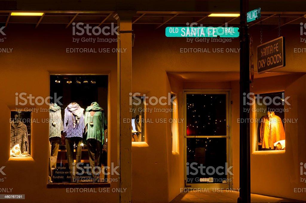 Window Shopping on the Santa Fe Plaza stock photo