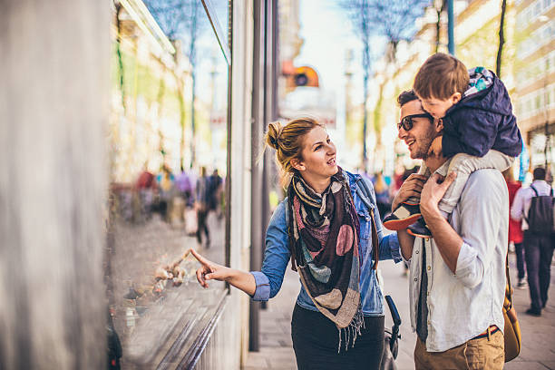 Window shopping stock photo