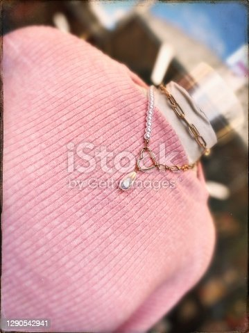 Window Shopping - Vintage Fashion - Pink Sweater with Necklace
