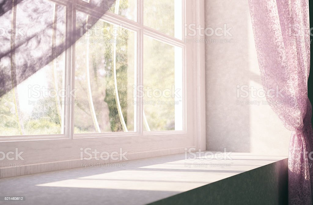 Window Sill Of A House In Rural Stock Photo