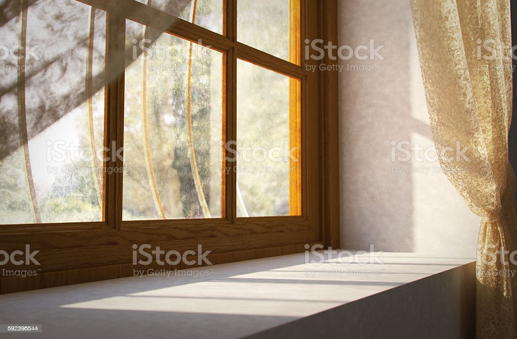 Marvelous Window Sill Of A House In Rural Stock Photo