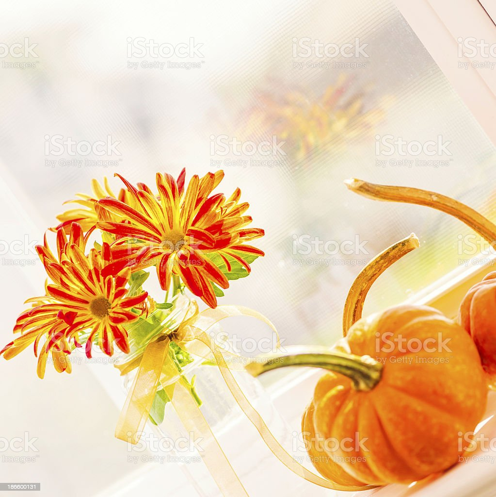 Window Sill Simply Decorated for Thanksgiving royalty-free stock photo