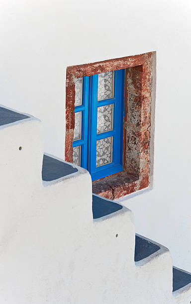 Window & staircase at santorini stock photo