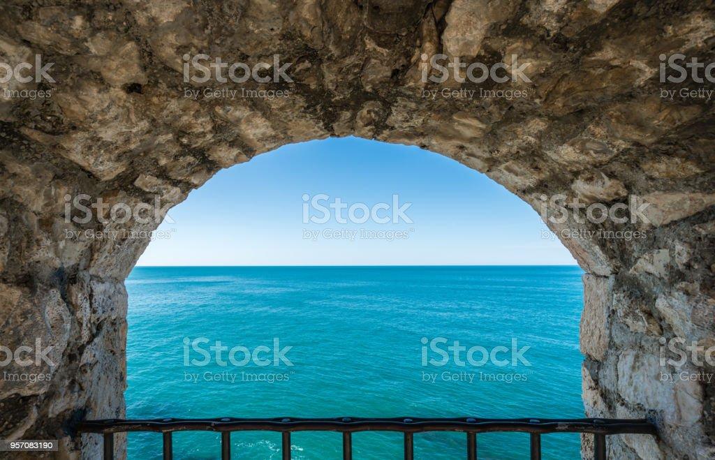 Window to the blue sea stock photo