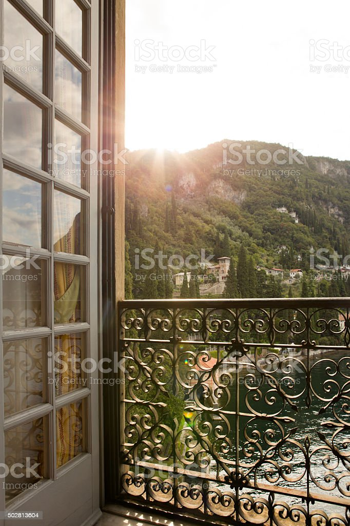 Window to Varenna in Lake Como Italy stock photo