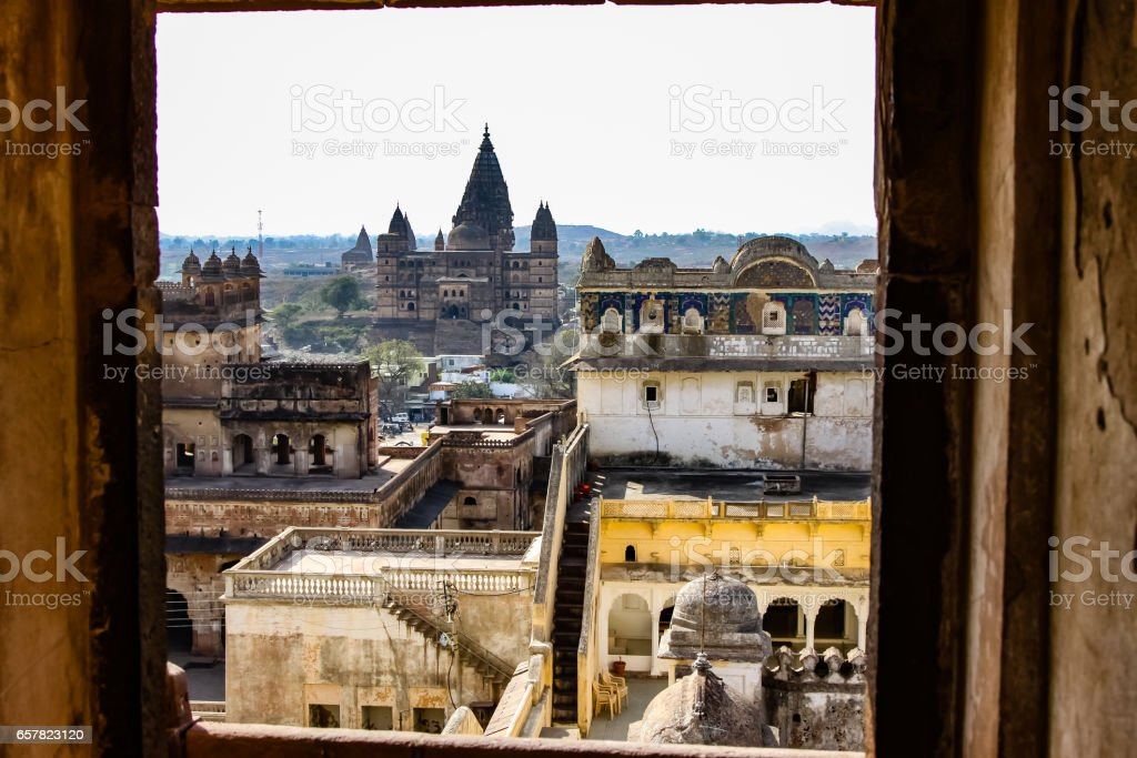 Window view from Jahangir Mahal to Chaturbhuj temple, Orchha stock photo