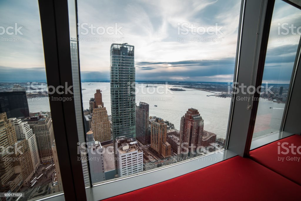 window view from luxury apartment in new york city manhattan real