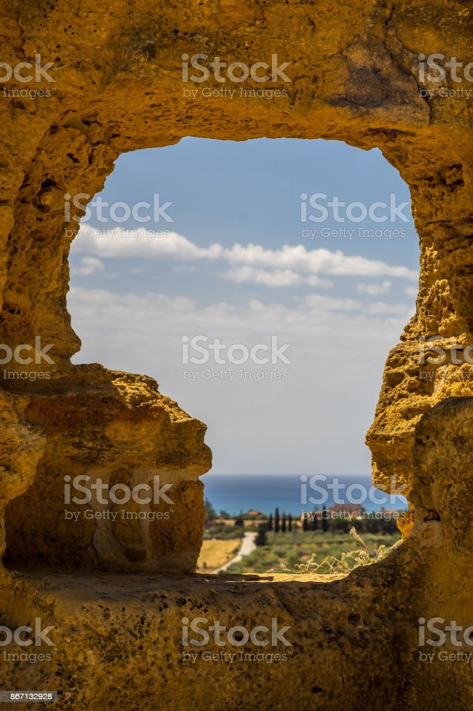 Window view from Valley of the Temple, Agrigento, Sicily, Italy - foto stock