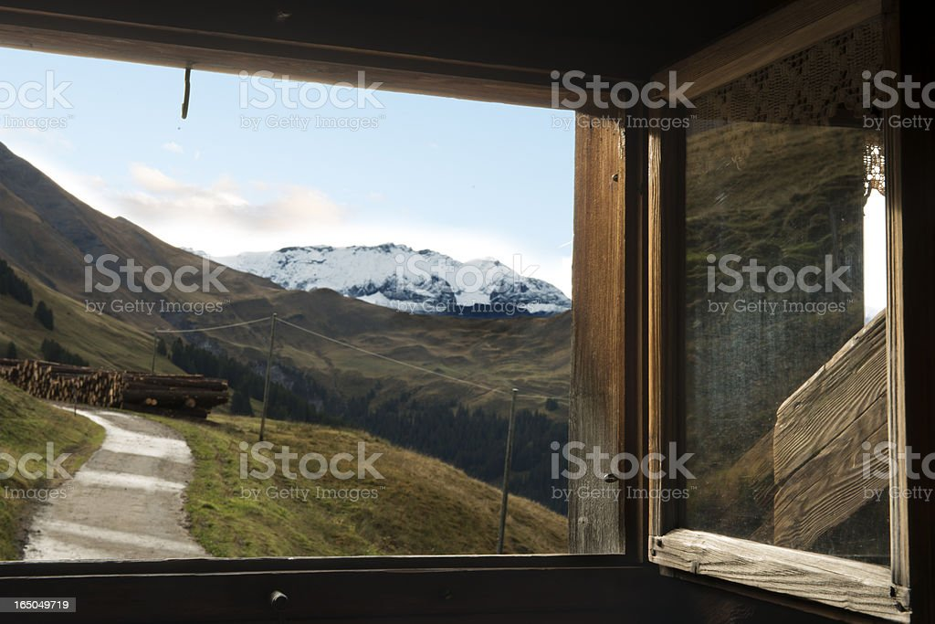 Window View in Swiss Alps royalty-free stock photo