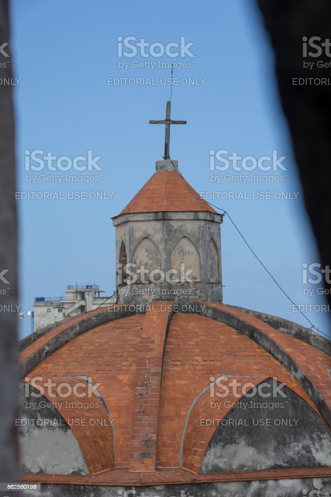 Window view of a church at havana, cuba stock photo