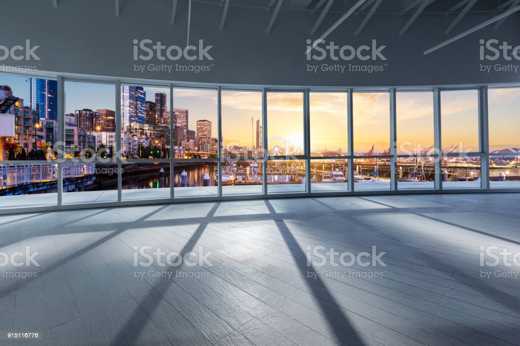 window view of Seattle sunset cityscape stock photo