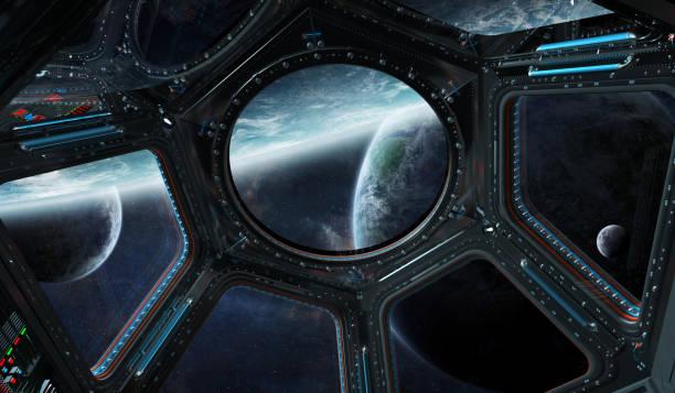 fensteransicht von raum und planeten von einer raumstation 3d rendering - eingangshalle wohngebäude innenansicht stock-fotos und bilder