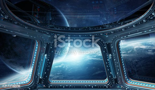 Window view of space and planets from a space station 3D rendering