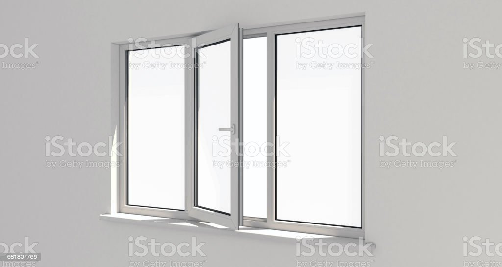 Window. Wall. Aluminum window. White window. Pvc window. stock photo