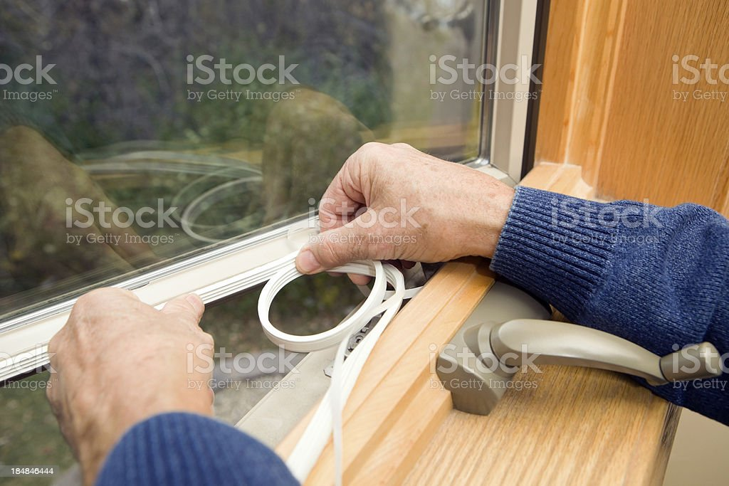 Window Weather Seal Application stock photo