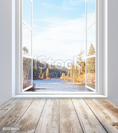 istock Window with autumn landscape view 637038400