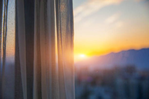 Window with curtain in the morning stock photo