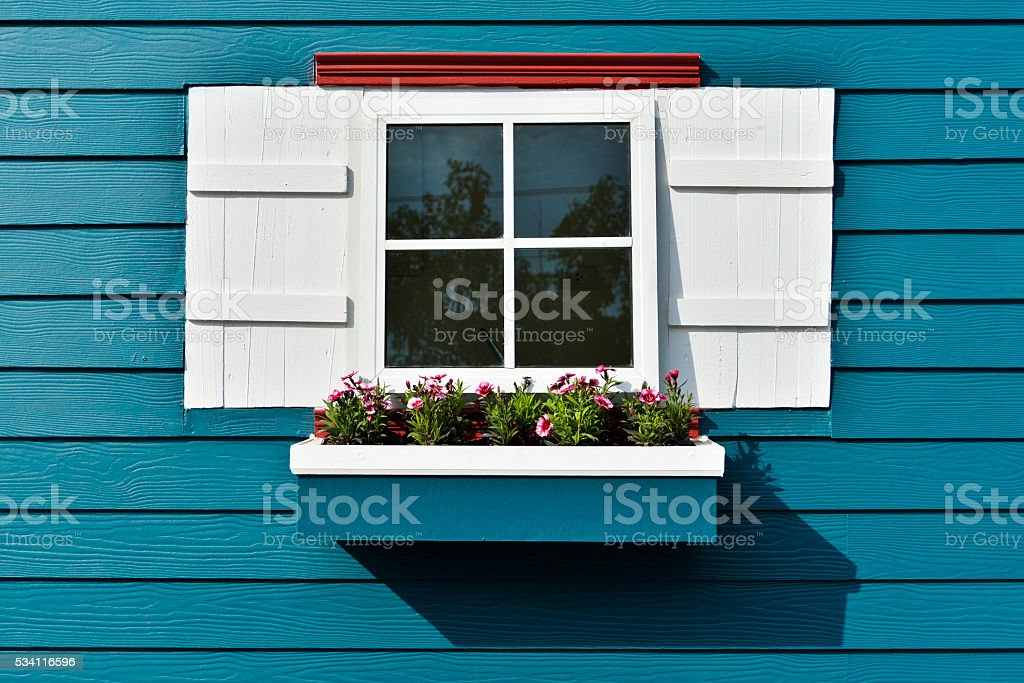 Window with flower box. stock photo