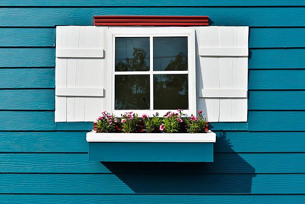 Window with flower box. - foto stock