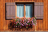Wooden window with shutters open on and flowers in hanging flower tray
